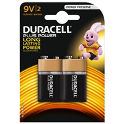 Picture of Duracell Plus Power Alkaline Pack of 2 9V Battery