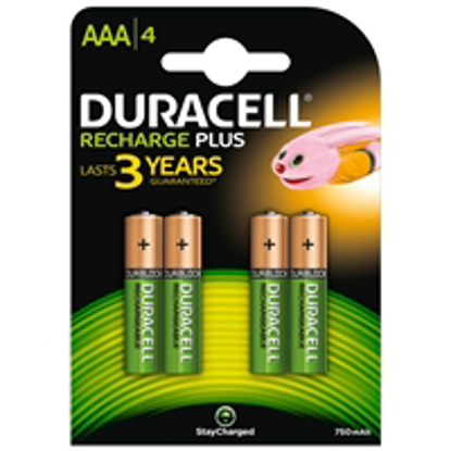 Picture of Duracell Recharge Plus Pack of 4 AAA 750mAh Rechargeable Batteries