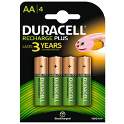 Picture of Duracell Recharge Plus Pack of 4 AA 1300mAh Rechargeable Batteries