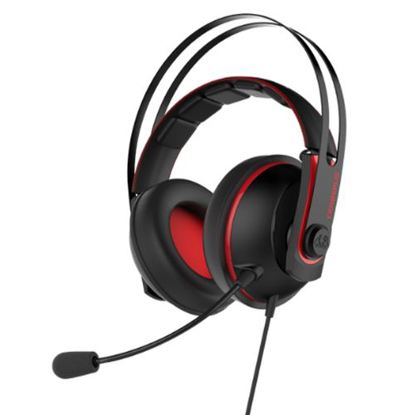 Picture of Asus Cerberus Gaming Headset V2, 53mm Drivers, Braided Cable, Red