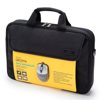 "Picture of Dicota (D30805-V1) Carry Case & Mouse Bundle - 15.6"""" Value Toploader Kit in Black with USB Optical Mouse"