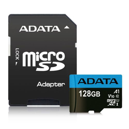 Picture of ADATA 128GB Premier Micro SDXC Card with SD Adapter, UHS-I Class 10 with A1 App Performance