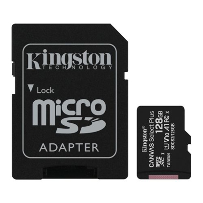 Picture of Kingston 128GB Canvas Select Plus Micro SDXC Card with SD Adapter, Class 10 with A1 App Performance