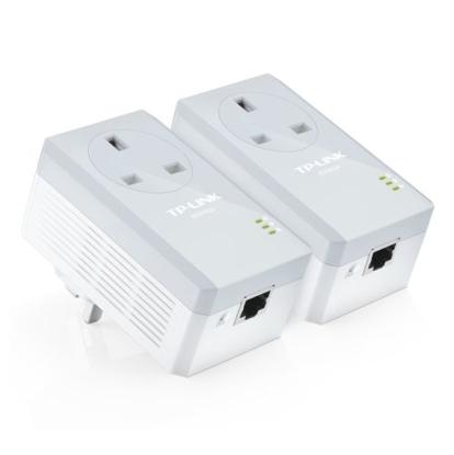 Picture of TP-LINK (TL-PA4010P KIT V4) AV600 10/100 Powerline Adapter Kit, 1-Port, AC Pass Through